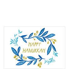 Blue Vines, Gold Happy Hanukkah Business Hallmark Card