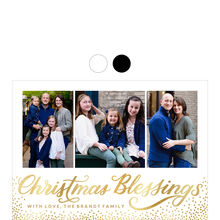 Shining Christmas Blessings and Dots Photo Collage Hallmark Card