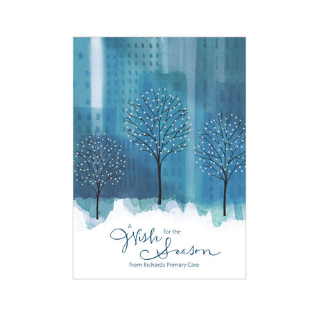 Watercolor City Park Holiday Design Your Own Business Hallmark Card