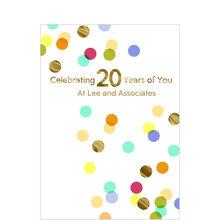 20th Work Anniversary Confetti Design Your Own Hallmark Card