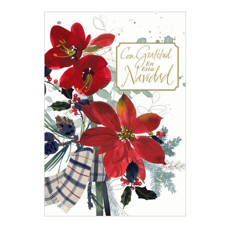 Poinsettias with Christmas Thanks Spanish Business Hallmark Card