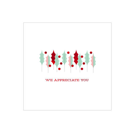 Holly and Berries Holiday Appreciation Business Hallmark Card