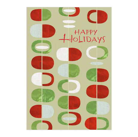 Red, Green, White Ovals Happy Holidays Card