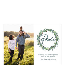 Peace in Green Wreath Holiday Business Photo Card