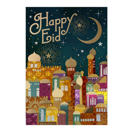 Happy Eid Card (Golden City) for Business