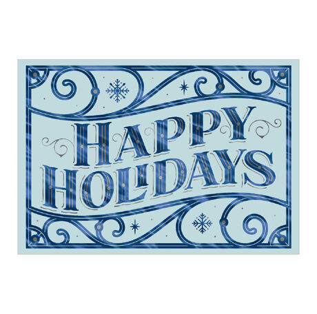 Happy Holidays Card (Blue & Silver Scroll) for Business