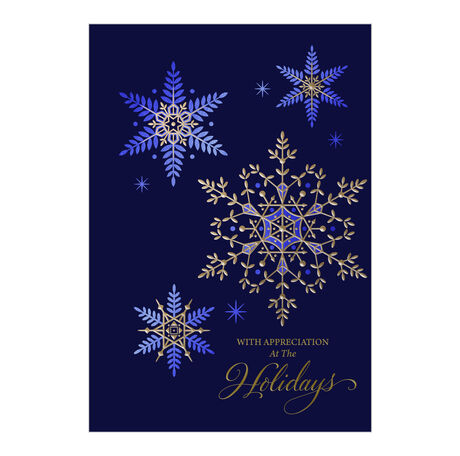 Premium Holiday Card (Gold & Blue Snowflakes) for Business