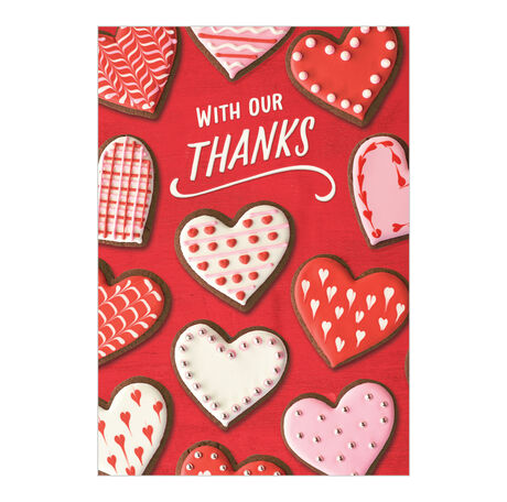 Heart Cookies & Thanks Valentine's Day Card