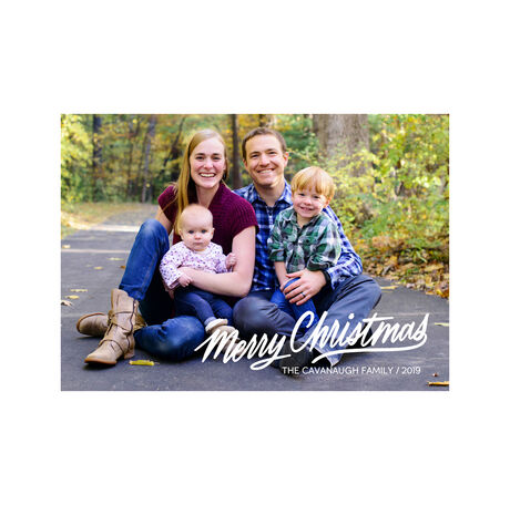 White Merry Christmas Full Photo Hallmark Card