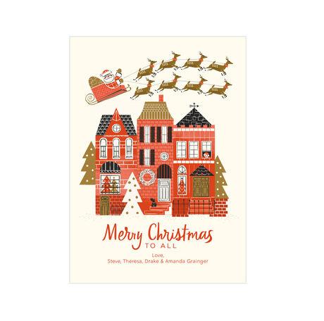 Santa's Sleigh Over Town Design Your Own Hallmark Christmas Card