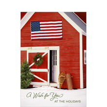 Holiday Card (Red Barn & American Flag) for Business