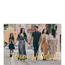 Golden Happy Holidays Full Photo Card