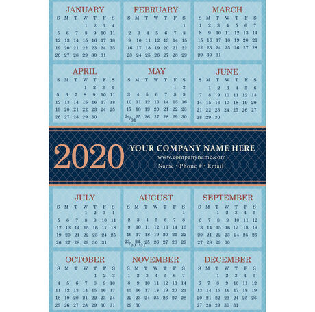 2020 Blue Diamond Magnetic Calendar Card