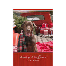 Holiday Pup on a Truck Business Hallmark Card