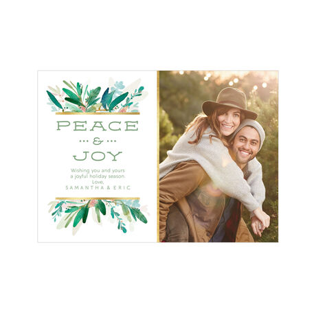 Peace, Joy and Watercolor Greenery Hallmark Holiday Photo Card