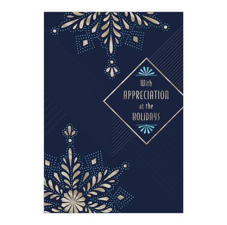 With Appreciation Navy & Snowflakes Premium Holiday Card