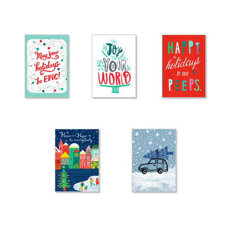 Assorted Illustrated Holiday Cards for Business, 25 Pack