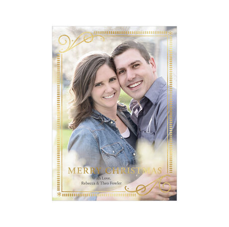 Elegantly Framed Merry Christmas Full Photo Hallmark Card