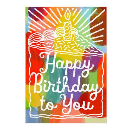 Colorful Happy Birthday Cake Business Hallmark Card