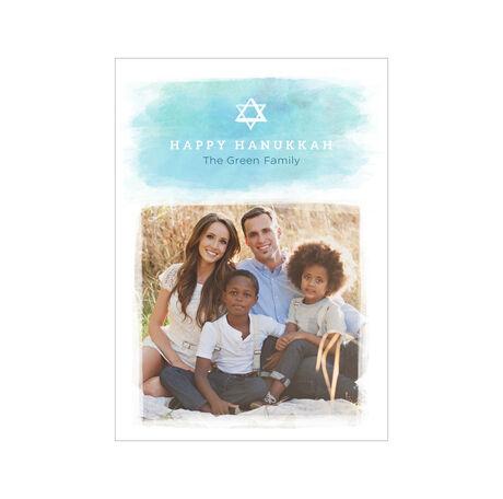 Watercolor Happy Hanukkah Hallmark Photo Card