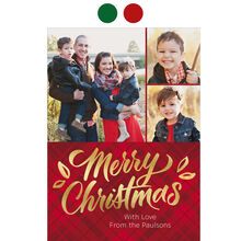 Shining Merry Christmas on Plaid Photo Collage Hallmark Card