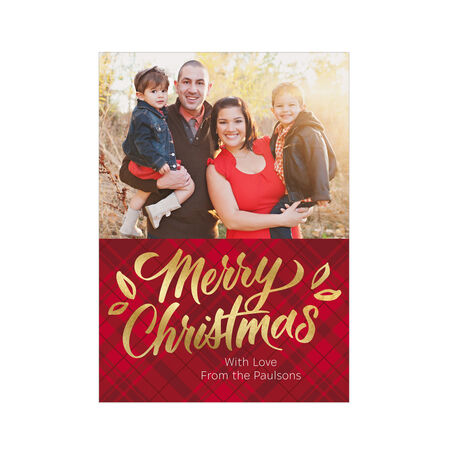 Shining Merry Christmas on Plaid Hallmark Photo Card