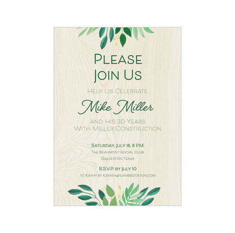 Join Us Greenery Design Your Own Business Invitation