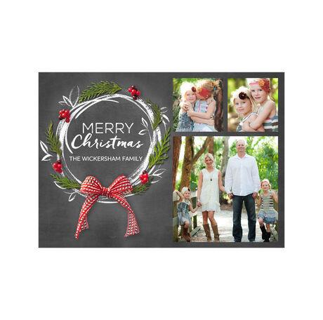 Pine and Chalk Wreath Hallmark Christmas Photo Collage Card