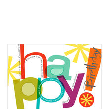 Contemporary Birthday Lettering Personalized Cover Hallmark Business Card