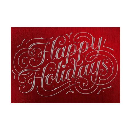 Happy Holidays Flourish on Red Business Hallmark Card