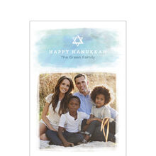 Watercolor Happy Hanukkah Business Photo Card