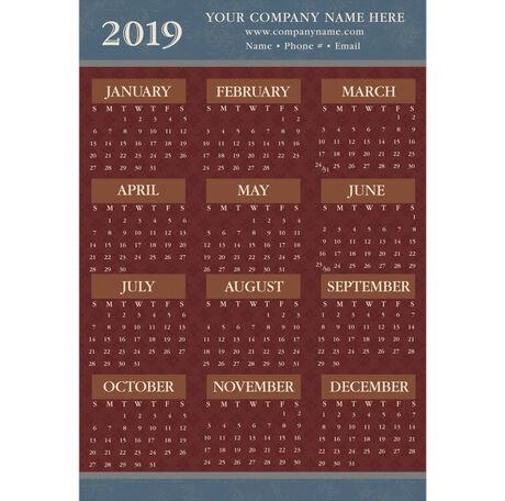Calendar Cards 2019 2019 Brick Red on Blue Paper Calendar Card