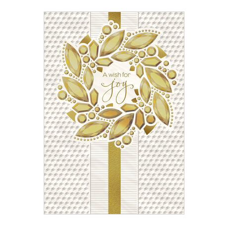 Premium Holiday Card (Gold Gem Wreath) for Business
