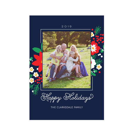 Poinsettias and Pine Hallmark Holiday Photo Card
