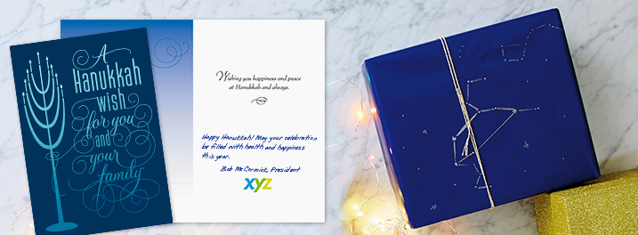 Personalize a Hanukkah card for your employees with your own message, printed in a handwriting font, and a company logo.