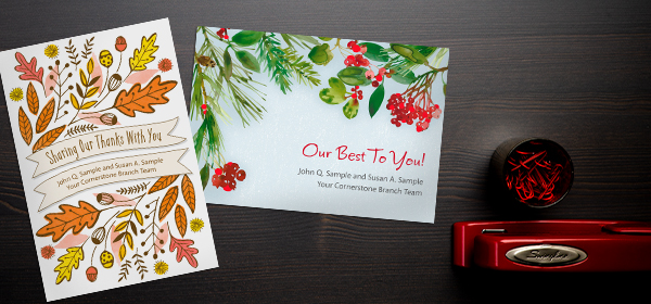 Custom cover cards provide the option for companies to place their name front and center for brand awareness.