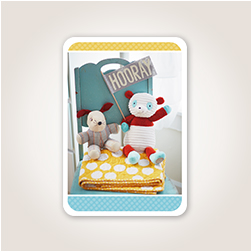 An adorable bunny and bear plush duo holding a Hooray pennant provide a fun cover photo for welcoming baby.