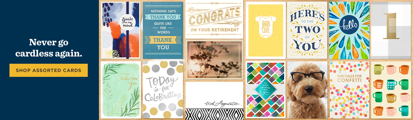 When a birthday, work anniversary, retirement or other celebratory event pops up unexpectedly, you'll be prepared thanks to Hallmark assorted cards.
