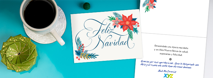 Send Spanish-speaking employees a Spanish Christmas card this year with a personal message and your company logo included.
