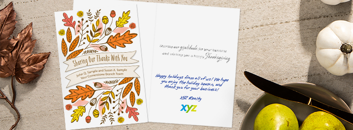 Say thanks to your customers with your company name front and center on this illustrated Hallmark Thanksgiving card.