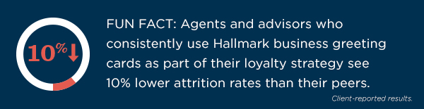 Agents and advisors who consistently use Hallmark business greetings cards as part of their loyalty strategy see 10% lower attrition rates than their peers, according to client-reported results.