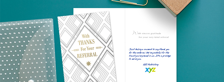 Gold and silver foils accent this design thanking customers for their referral. Add a personal message and logo, too