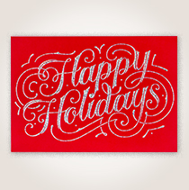 Glittering Happy Holidays Business Hallmark Card for Customers and Employees