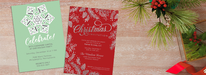 Silver pine branches and lettering on this invitation you can bulk personalize set a professional tone for business events.