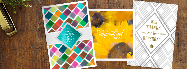 From employee recognition to customer appreciation, Hallmark has greeting cards designed specially for businesses.
