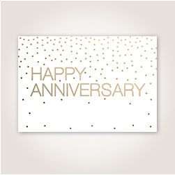 Lettering and confetti trimmed in gold, plus a space for cover personalization, combine for a thoughtful Anniversary wish.