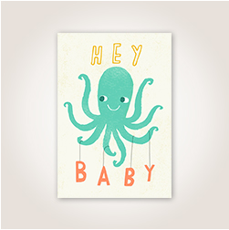 Playfully illustrated, an octopus acts as a baby mobile in this welcome baby greeting card.