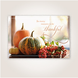 Gourdes and Berries Thanksgiving card for customers.