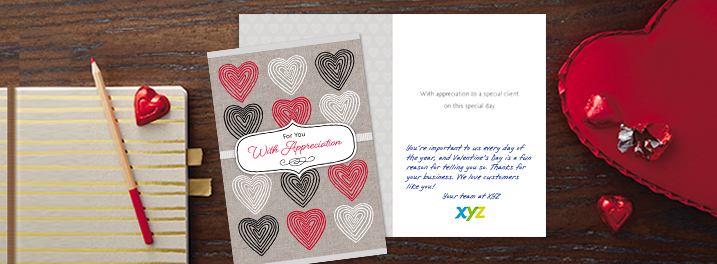 Connect with customers with an illustrated Hallmark Valentine's Day card expressing appreciation alongside your company logo.