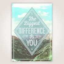 "The mountain scene on this card has white lettering over it that says, ""The Biggest Difference is You."" SHOP NOW"